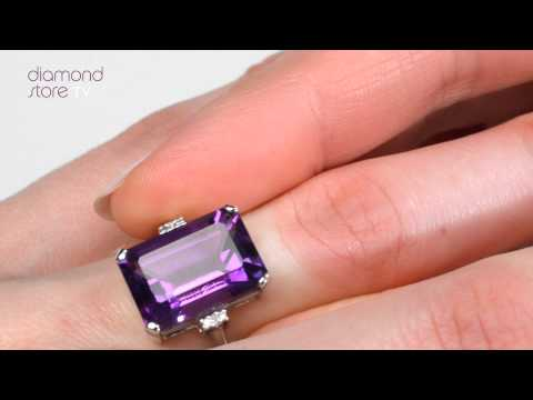 E5761-9K WHITE GOLD DIAMOND AND AMETHYST RING 0.01CT
