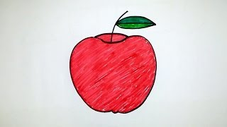 How to draw an apple step by step for kids - telugu