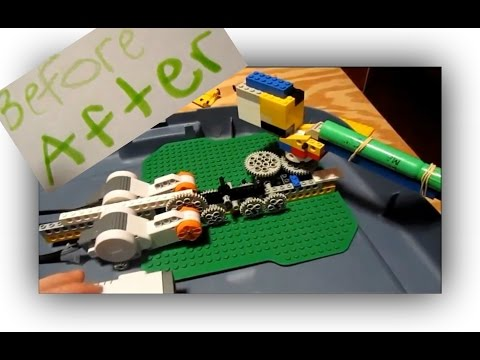 This Lego machine spins old dry erase markers until they are new