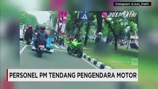 Terciduk! Viral Video Personel PM Tendang Pengendara Motor