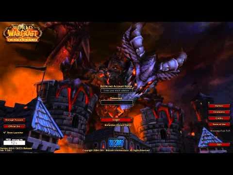 World of Warcraft Cataclysm Login screen