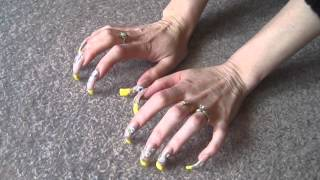 Long Nails Yellow French