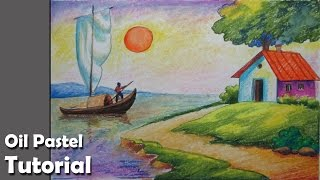 How to Draw A Riverside Landscape with Oil Pastels | Episode- 4