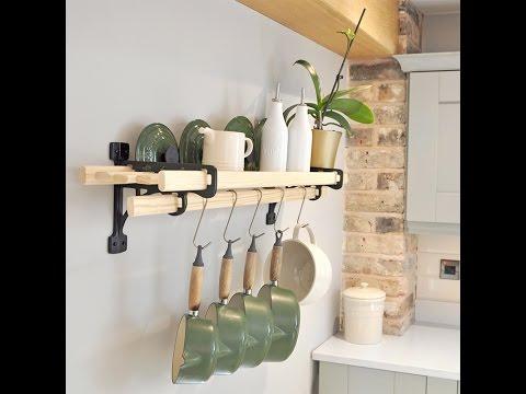 Kitchen Shelf Rack - Pot Rack in Cast Iron & Chrome
