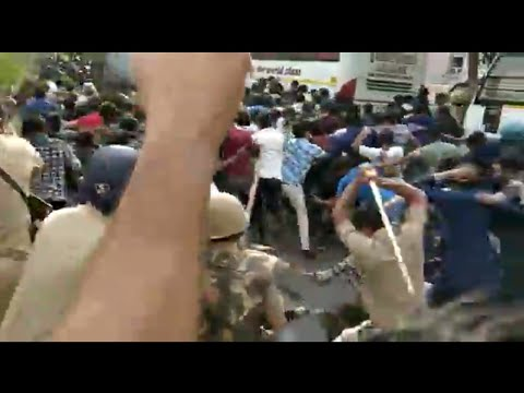 Lathi charge on Amu students while going for FIR against Hindu yuva Vahini