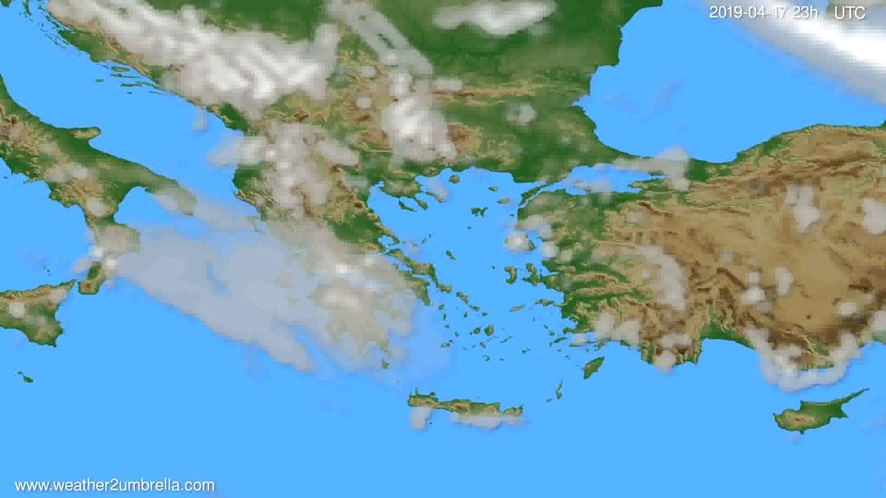 Cloud forecast Greece // modelrun: 12h UTC 2019-04-14