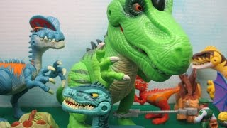 In this video I open and play with 10 Jurassic World dinosaur toys from Playskool Heroes. The dinosaurs include a velociraptor, dilophosaurus, spinosaurus, tyrannosaurus rex, stegosaurus, and pterodactyl. I also open a dinosaur tracking helicopter and dinosaur tracking 4x4 vehicle. Several of these dinosaurs require batteries for lights and sound.MusicTitle: Mumbai Effectby: Jingle PunksYouTube Audio LibraryTerms: Free Music