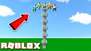 """In today's Roblox Adventure, Corl and Alex try to climb the tallest 9999 human tower in the Be The Top gamemode in Roblox!► Subscribe for more! -- http://bit.ly/ThePalsSubscribe► Follow us on Twitter! -- https://twitter.com/SubZeroExtabyteJoin us in our Roblox Adventures as we play through various Roblox Gamemodes from Roblox High School, Roblox Apocalypse, Roblox Prison, Roblox Dating and more! Make sure to subscribe for me Roblox Adventures!▶ MORE VIDEOS!Roblox Adventures -- http://bit.ly/ThePalsAdventuresBest of The Pals -- http://bit.ly/BestOfThePalsMost Recent -- http://bit.ly/PalsMostRecent▶ CHECK OUT THE PALS!Denis -- http://youtube.com/denisdailyCorl -- http://youtube.com/corlAlex -- http://youtube.com/alexcraftedSketch -- http://youtube.com/SketchRobloxMoreSub -- http://youtube.com/SubRobloxMoreWhat is ROBLOX? ROBLOX is an online virtual playground and workshop, where kids of all ages can safely interact, create, have fun, and learn. It's unique in that practically everything on ROBLOX is designed and constructed by members of the community. ROBLOX is designed for 8 to 18 year olds, but it is open to people of all ages. Each player starts by choosing an avatar and giving it an identity. They can then explore ROBLOX — interacting with others by chatting, playing games, or collaborating on creative projects. Each player is also given their own piece of undeveloped real estate along with a virtual toolbox with which to design and build anything — be it a navigable skyscraper, a working helicopter, a giant pinball machine, a multiplayer """"Capture the Flag"""" game or some other, yet-to-be-dreamed-up creation. There is no cost for this first plot of virtual land. By participating and by building cool stuff, ROBLOX members can earn specialty badges as well as ROBLOX dollars (""""ROBUX""""). In turn, they can shop the online catalog to purchase avatar clothing and accessories as well as premium building materials, interactive components, and working mechanisms.► Music Credi"""