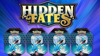 POKEMON HIDDEN FATES TINS ARE HERE!!! Opening 4 Gyarados GX Hidden Fates Tins of Pokemon Cards! by The Pokémon Evolutionaries