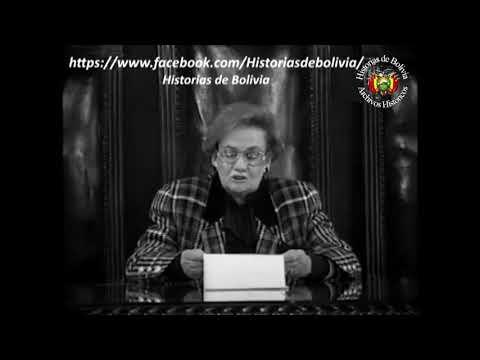 1 de Enero de 1980, Lydia Gueiler Tejada lee una carta a la nación llamando a defender la democracia