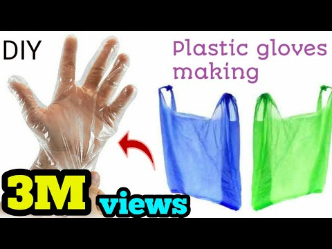 DIY How to make hand gloves used with carrybag#plastic gloves making..