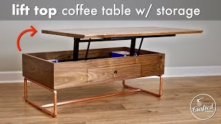 Lift Top Coffee Table with Storage & Copper Pipe Base // How To - Woodworking
