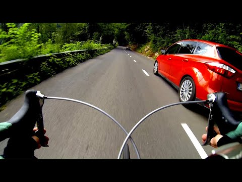 Bicycle - Best Extreme road bike descent / downhill. Overtaking cars. Max speed 86 kph. Cam GoPro3 Black edition. Riding my Bianchi SL Lite alloy Reparto Corse. http:/...