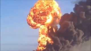 Взрыв, после крушения поезда