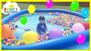 Video BALLOON POP SURPRISE TOYS CHALLENGE giant ball pit in Huge pool Kinder Egg Disney Cars Toys MP3, 3GP, MP4, WEBM, AVI, FLV Oktober 2017