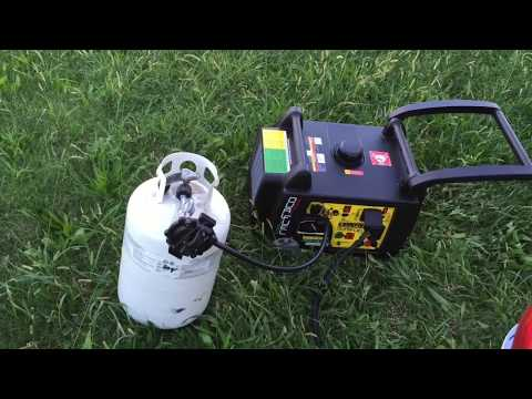 Testing a dual-fuel Champion inverter generator on propane starting a 15,000 BTU A/C