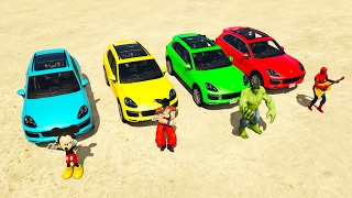 Funny With famous characters and cars and heroes and colors video for kids. + Sky scrapper extreme jump video for chilren. Other my video: Tanks on Car: http...