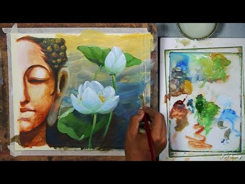 Lord Buddha creative painting in Acrylic | step by step