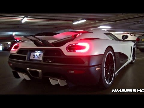 AGERA - Full HD 1080p Video By NM2255: Matte white Koenigsegg Agera R twin turbo V8 engine start up and revving, listen to its amazing sound in close parking garage!...
