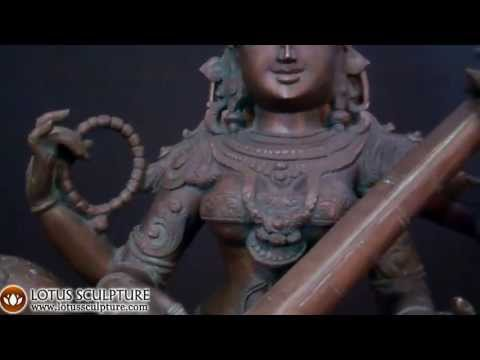 SOLD Bronze Saraswati Statue with Swan 38