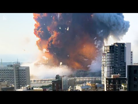 Devastating unseen footage shows moment of Beirut explosion in 4K & slow motion.