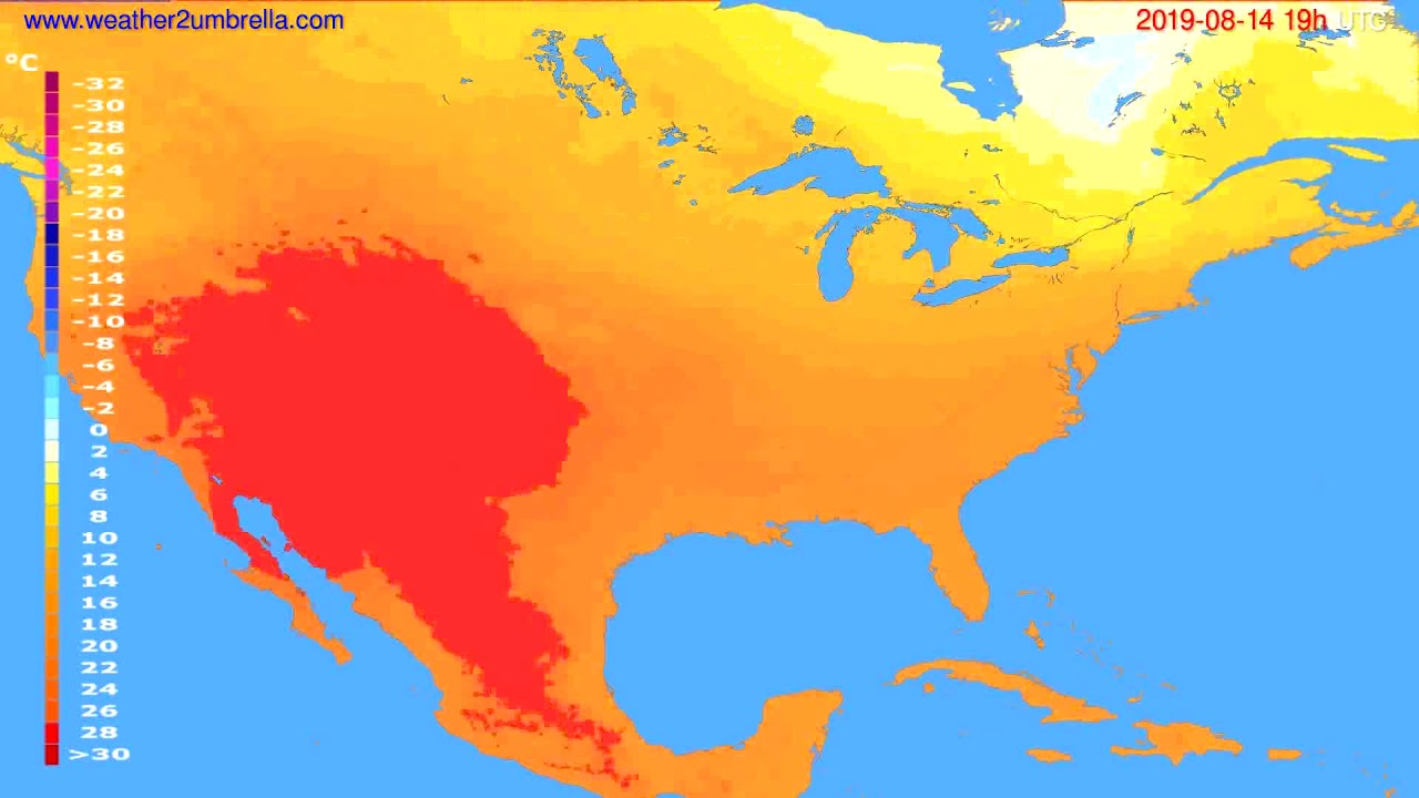 Temperature forecast USA & Canada // modelrun: 12h UTC 2019-08-11