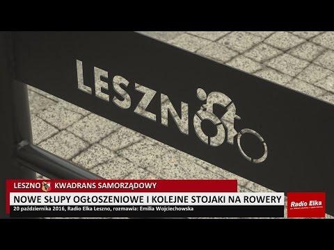 Wideo1: Nowe s�upy og�oszeniowe i kolejne stojaki na rowery na ulicach Leszna