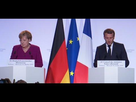 Pressekonferenz von Merkel und Macron in Toulouse