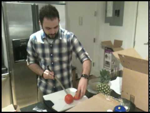 """7 years ago - Oliver Babish (of Binging with Babish) with a FULL HEAD OF HAIR performing the """"Miracle Blade Test""""..."""