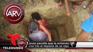 Una joven en Colombia se deja enterrar viva
