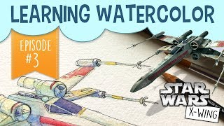 Star Wars X-Wing Starfighter ArtWelcome back to episode 3 of my Watercolor Learning series! In these watercolor painting videos, I'm documenting my process as I learn how to use different watercolour techniques. Watercolour Playlist: https://www.youtube.com/playlist?list=PLDBcpqbLoA6eirE11Tq8R8SWZTv-y1wDHToday I'm painting an X-Wing Starfighter from Star Wars. The goal is to succeed in shading the ship without using black paint. I've seen these loose watercolor paintings over technical drawings before, and I always love the way they look! Turns out, it was easier than I thought (and faster!)  Did you enjoy this Star Wars art? Let me know by giving this video a thumbs up!Subscribe to peer into a day in the life of a freelance illustrator, and share if you care! :)Last Video: https://www.youtube.com/watch?v=qGbra9O4QYYShop: https://www.etsy.com/your/shops/pigknit/tools/listings/section:19896210------------------------------------------------------------------------------------------Art Materials Used in This Video: Cold Press Watercolor Paper (Brand unknown. Feels like a heavier weight, at least 100#)Watercolor Palette: https://www.amazon.com/gp/product/B0197FQYWQ/ref=as_li_tl?ie=UTF8&camp=1789&creative=9325&creativeASIN=B0197FQYWQ&linkCode=as2&tag=pigknit-20&linkId=2202441273bbe0645bc49c567bf770cfWatercolor Sketchbook: https://www.amazon.com/gp/product/8883705629/ref=as_li_tl?ie=UTF8&camp=1789&creative=9325&creativeASIN=8883705629&linkCode=as2&tag=pigknit-20&linkId=00a51614f609bce1cfa90ec6047e97ecMicron Pen: https://www.amazon.com/gp/product/B000XAL0O2/ref=as_li_tl?ie=UTF8&camp=1789&creative=9325&creativeASIN=B000XAL0O2&linkCode=as2&tag=pigknit-20&linkId=9bafe03ef272c80628dff55b66608042------------------------------------------------------------------------------------------Filming Equipment Used:Canon Powershot S110: https://www.amazon.com/gp/product/B009B0MYSQ/ref=as_li_tl?ie=UTF8&camp=1789&creative=9325&creativeASIN=B009B0MYSQ&linkCode=as2&tag=pigknit-20&linkId=61eb3228c57da1bd4d00fcc98809a720Manfrotto Mini Tripod: https://www.amazon.com/gp/product/B00GUND8XM/ref=as_li_tl?ie=UTF8&camp=1789&creative=9325&creativeASIN=B00GUND8XM&linkCode=as2&tag=pigknit-20&linkId=0606a7ba650f0ff2862dc287e3459864Blue Snowball Microphone:https://www.amazon.com/gp/product/B006DIA77E/ref=as_li_tl?ie=UTF8&camp=1789&creative=9325&creativeASIN=B006DIA77E&linkCode=as2&tag=pigknit-20&linkId=573fe459c7397c6e3b9adaa488738209------------------------------------------------------------------------------------------Background Music:https://soundcloud.com/kevin-9-1/martini-sunset https://soundcloud.com/kohrogi/hustle-and-bustlehttps://soundcloud.com/stefanpizzo/dont-throw-that-away-background-music------------------------------------------------------------------------------------------Etsy:  https://www.etsy.com/shop/pigknitwww.pigknit.comFacebook: https://www.facebook.com/pigknit/Twitter: https://twitter.com/pigknitTumblr: https://www.tumblr.com/blog/pigknitInstagram: @pigknitSnapchat: PigknitThanks for watching!