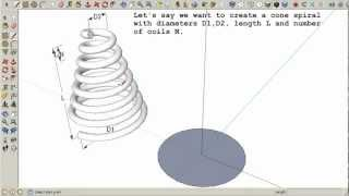 Video Cone spiral in SketchUp MP3, 3GP, MP4, WEBM, AVI, FLV Desember 2017