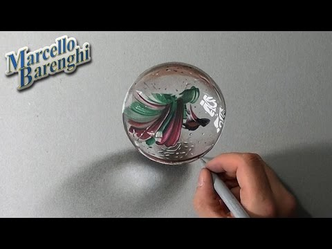 Crazy realistic DRAWING: a MARBLE or glass BALL