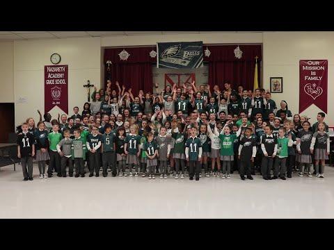 Nazareth Academy Grade School Has Philadelphia Eagles Playoff Fever
