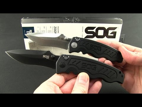 "SOG Zoom Drop Point Spring Assisted Knife (3.625"" Black Serr) ZM1016"