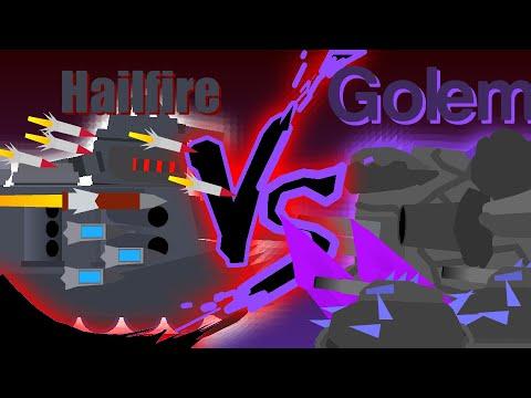 Gladiator battles: Hailfire VS Golem Final battle - Cartoons about tanks
