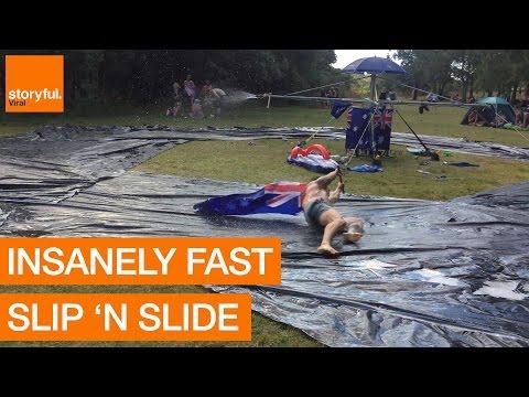 Aussien huikea Slip 'N Slide -karuselli
