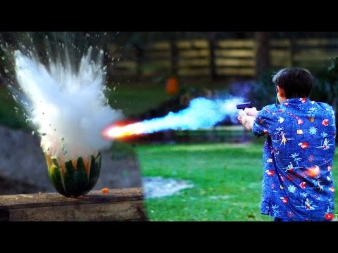 The Backyard Scientist Fires Liquid Sodium Filled Bullets at Watermelon With Explosive