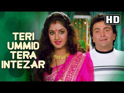 Video Teri Ummid Tera Intezar Karte Hai  (HD) - Deewana Song - Rishi Kapoor - Divya Bharti - Filmigaane download in MP3, 3GP, MP4, WEBM, AVI, FLV January 2017