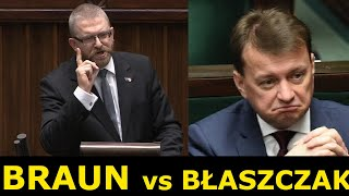 Grzegorz Braun punktuje ministra Błaszczaka na Komisji Obrony Narodowej.