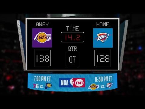 Video: LIVE Scoreboard! Lakers @ Thunder on TNT!