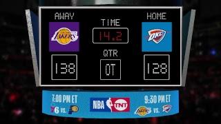 LIVE Scoreboard! Lakers @ Thunder on TNT!