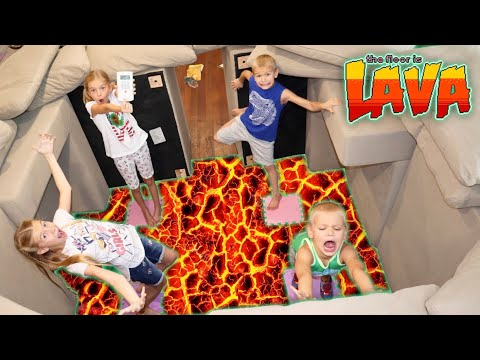 Escape Lava Floor In HUGE Couch Castle FORT - Tannerites Kids Build A Couch Fort!