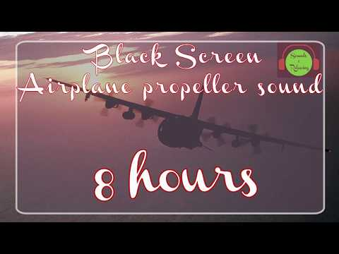 🎧Airplane Propeller Sound - Black Screen - White Noise For Sleeping - 8 Hours