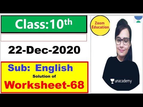 Class 10 Worksheet 68 English || 22 Dec 2020 || English Worksheet 68 class 10 || doe Worksheet 68