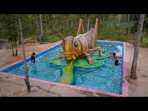 Build The Most Creative Beautiful Giant locusts, Swimming Pool & Fish Pond