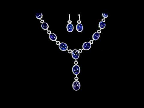 Elegant 14k White Gold 180ct (TW) Tanzanite and Diamond Necklace and Earrings and Ring Set