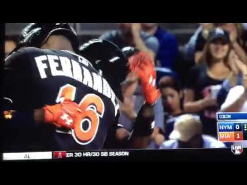 Dee gordon in his first at bat hits a home run to start off the Jose Fernandez tribute game.