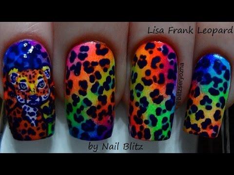 Lisa Frank Leopard DIY Freehand Nail Art Tutorial