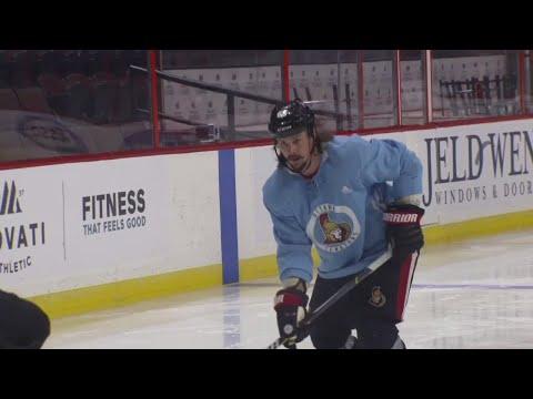 Video: Karlsson back on the ice, runs drills at Senators practice